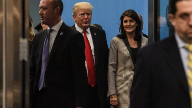 Trump and Haley at the United Nations.