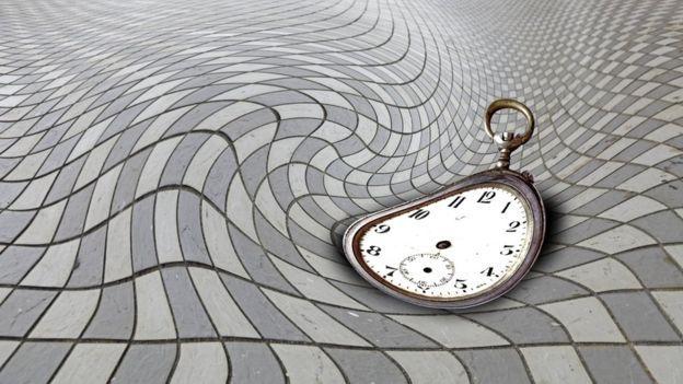 Ilutración de un reloj y lo que puede ser la superficie del universo