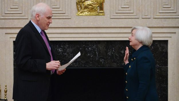 Janet Yellen is sworn in as Fed Chair in 2014. Her term ends in February