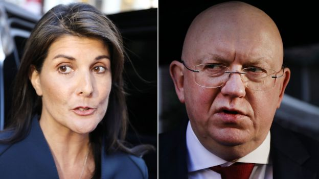Nikki Haley and Vasily Nebenzia