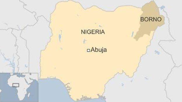Map showing location of Borno