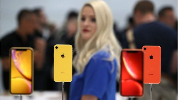 Apple iPhone XR is displayed during an Apple special event at the Steve Jobs Theatre on September 12, 2018