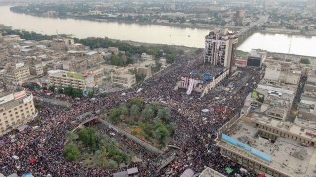 Protesters at Baghdad's Tahrir Square, Iraq. Photo: 2 November 2019