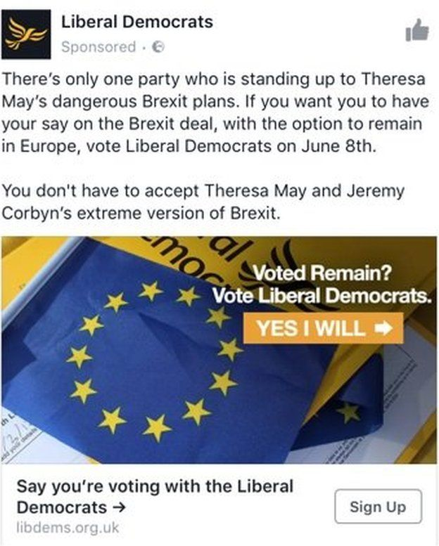 A Lib Dem Facebook advert, calling on voters to reject 'extreme' Brexit