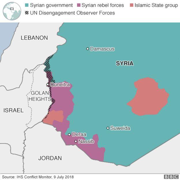 シリアの支配勢力を示した図。大部分はシリア政府軍が奪還しているが、西部に反体制派の支配地域がある。過激派勢力「イスラム国」の統治地域もある。イスラエルが占領するゴラン高原との境界線には国連の監視団も入っている