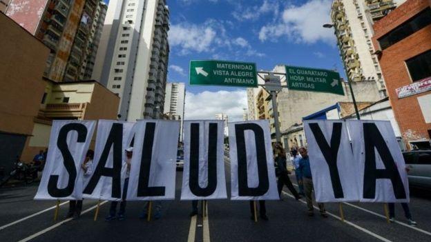 Protestas en Venezuela reclamando mejor salud