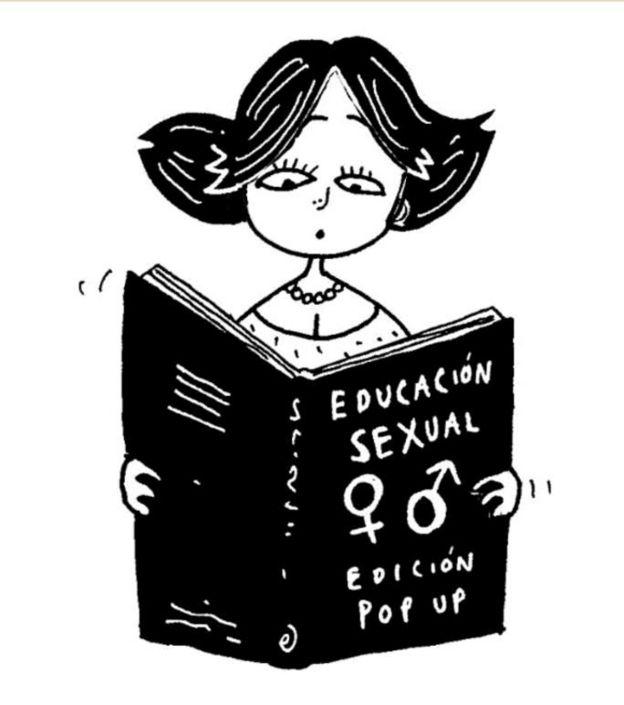 Ilustración cómica de una mujer leyendo un libro de educación sexual