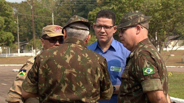 Governador de Rondônia, Marcos Rocha (PSL), em reunião no 5º Batalhão de Engenharia de Construção em Porto Velho