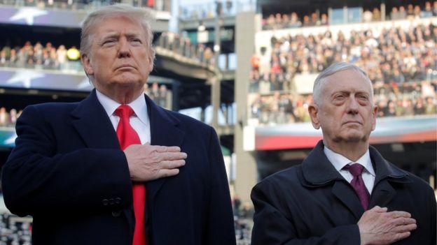 Image shows U.S. President Donald Trump and former Defence Secretary James Mattis