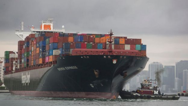 A ship carrying goods made in China arrives in Miami, Florida