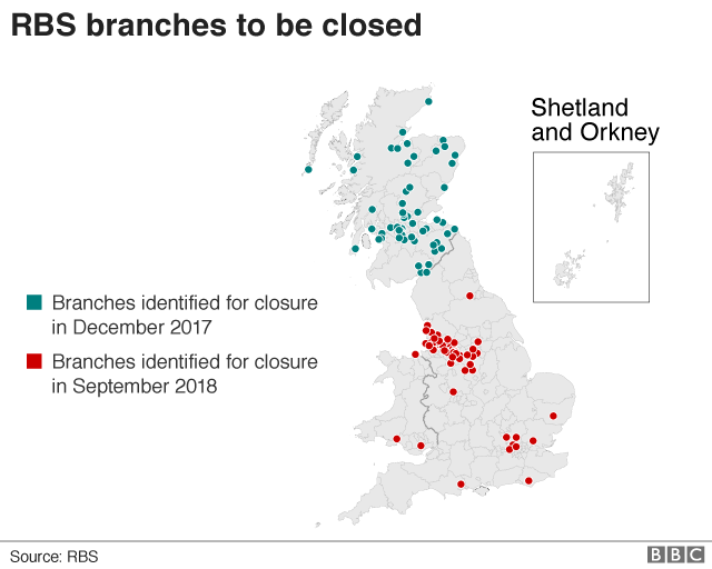 RBS to shut a further 54 bank branches - BBC News