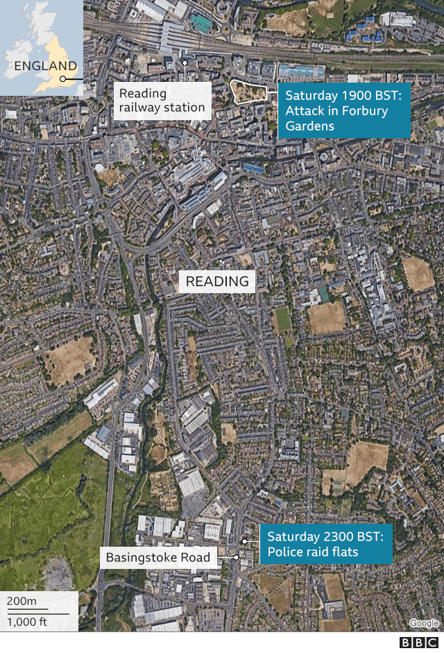 Map of the Reading attack and police raid