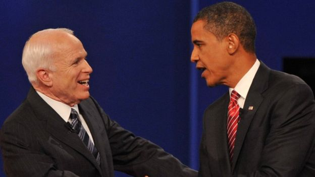 Democrat Barack Obama (R) and Republican John McCain greet each other at Hofstra University at the end of their third and final presidential debate in Hempstead, New York