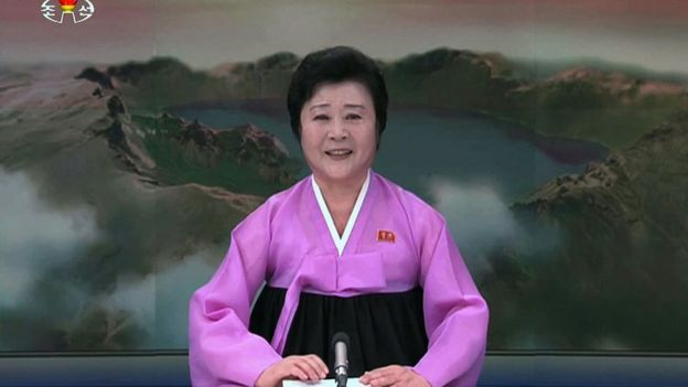North Korean newscaster Ri Chun-hee, pictured on 7 February 2016