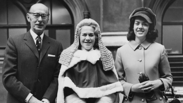 English barrister Rose Heilbron (1914 - 2005) arrives at the House of Lords in London with her husband Dr Nathaniel Burstein and daughter Hilary (right)