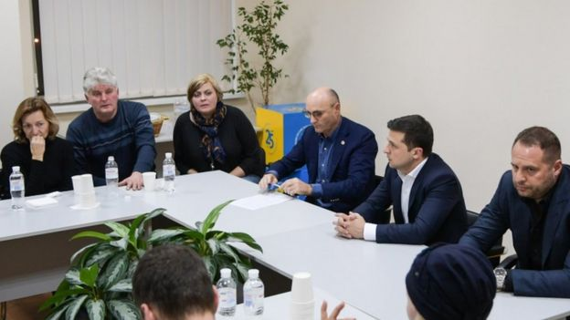 Ukrainian President Volodymyr Zelensky meets relatives of crew