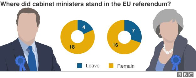 Chart showing the breakdown of cabinet ministers who voted to Leave or Remain in the EU referendum