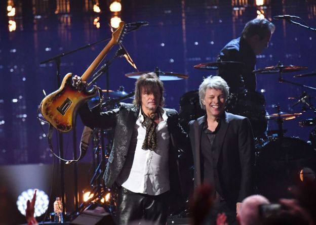 Richie Sambora and Bon Jovi at their induction to the Rock and Roll Hall of Fame in 2018