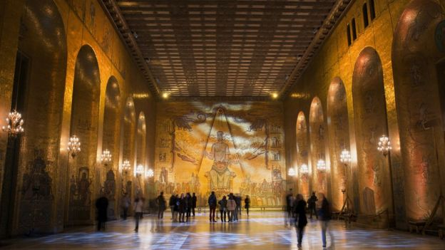 Interior of the building where the Nobel celebrations are held in Stockholm.