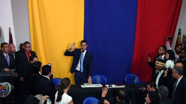 Juan Guaidó en una sesión paralela en Venezuela.