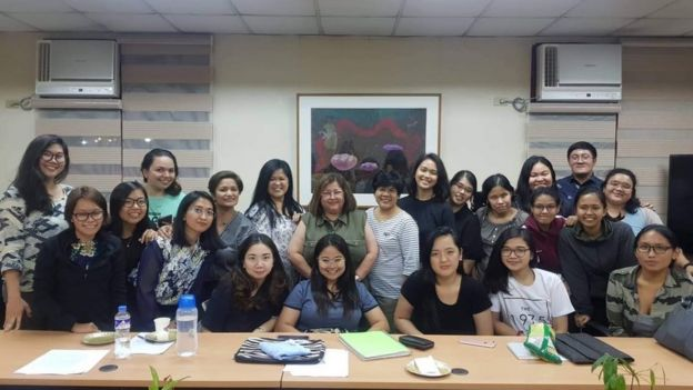 Students from the University of the Philippines with their Professor