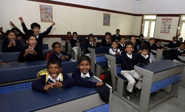 A view of classroom in first face lifted model school Sarvodaya Bal Vidyalaya after inauguration by Delhi Deputy Chief Minister and Education Manish Sidodia at Rouse Avenue on January 25, 2017 in New Delhi, India.