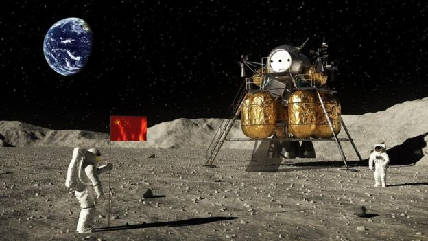 Ilustração mostra astronautas com bandeira da China na Lua