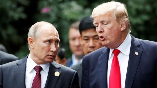 Putin and Trump, pictured in 2017 in Vietnam