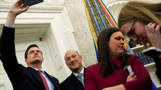 White House Staff Secretary Rob Porter (L), White House chief economic adviser Gary Cohn (2nd L) and White House Press Secretary Sarah Huckabee Sanders