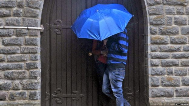 couple in shimla outside church