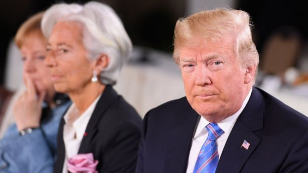 German Chancellor Angela Merkel, Christine Lagarde and US President Donald Trump during the Gender Equality Advisory Council working breakfast on the second day of the G7 Summit on June 9, 2018 in Quebec City, Canada