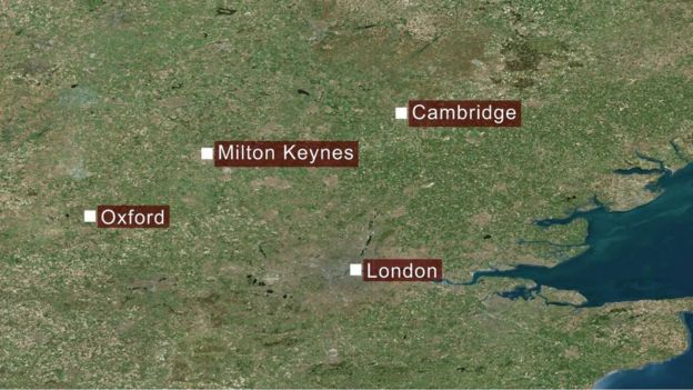 map showing Cambridge, Milton Keynes and Oxford