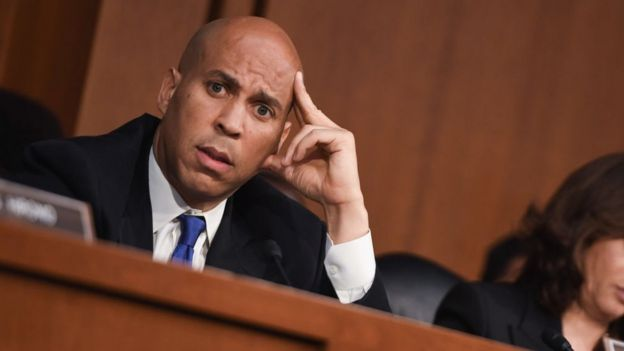 Democrat Cory Booker looking bewildered