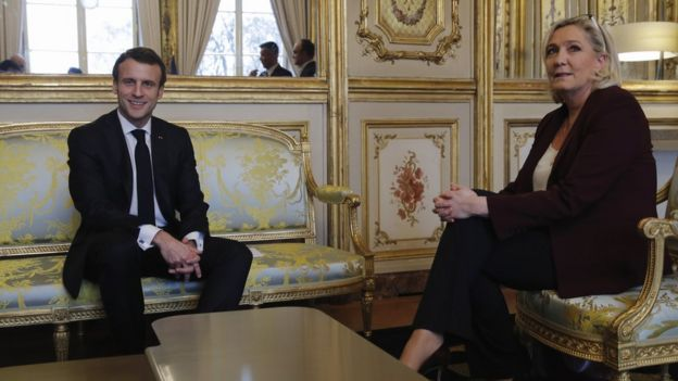 French President Emmanuel Macron (L) meets French Member of Parliament and President of the Rassemblement National (RN) far-right party Marine Le Pen (R) at the Elysee Palace for a meeting with French President Emmanuel Macron in Paris, France, 06 February 2019