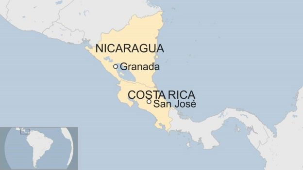 Map of Costa Rica and Nicaragua