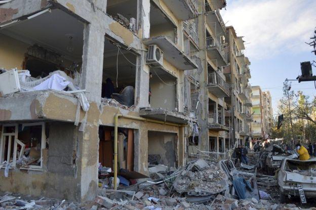 Blast damage in Diyarbakir, Turkey, 4 November
