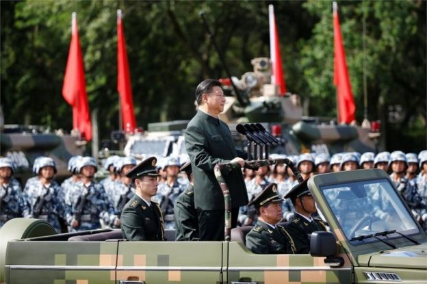 Chinese President Xi Jinping inspects troops at the People's Liberation Army (PLA) Hong Kong Garrison as part of events marking the 20th anniversary of the city's handover from British to Chinese rule, in Hong Kong, China 30 June 2017
