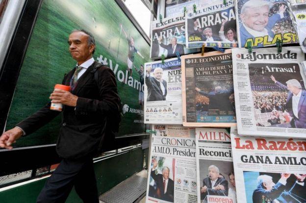 Puesto de periódicos en Ciudad de México.