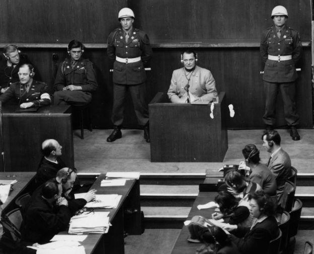 Nazi leader Hermann Goering in the witness box at the Nuremberg War Crime Trials on March 16, 1946