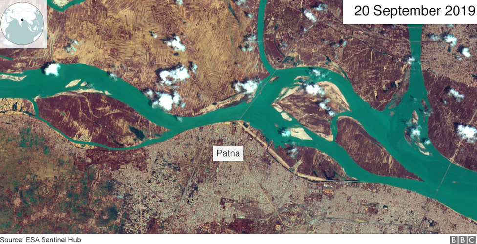 A satellite image of the Ganges river on 20 September 2019