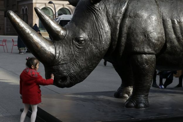A young child touches The Last Three, the world's largest rhino sculpture,  which is
