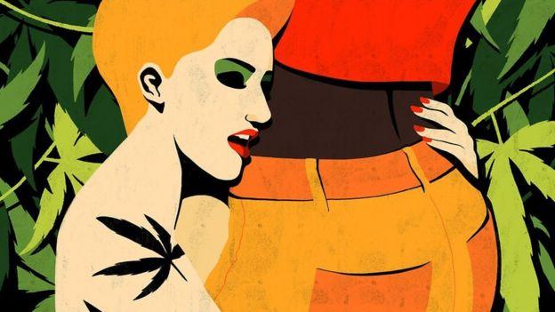 Ilustração de uma mulher abraçando a cintura de um homem – ao fundo, folhas de maconha