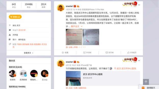 Dr Li'nin Weibo'daki paylaşımları