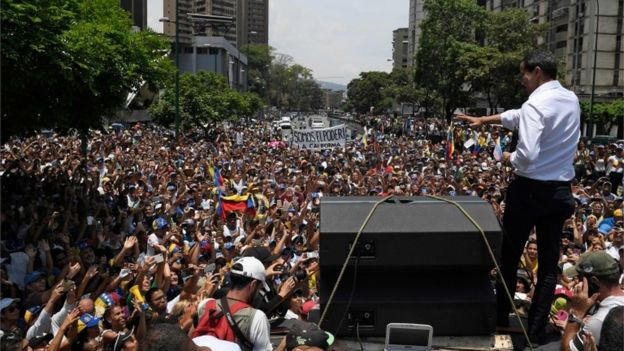 Juan Guaidó addressing supporters in Caracas