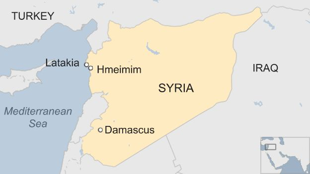 A map showing the Hmeimim airbase near the north-western city of Latakia in Syria