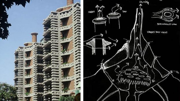 Centro Eastgate y dibujo de Mick Pearce.