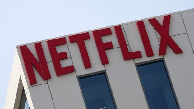 Netflix logo on building