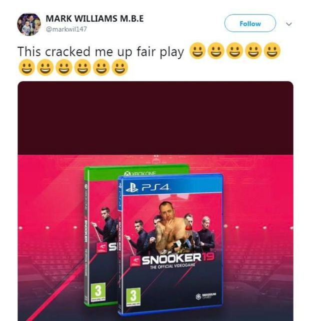 A mock up of the Snooker 19 game including Mark Williams