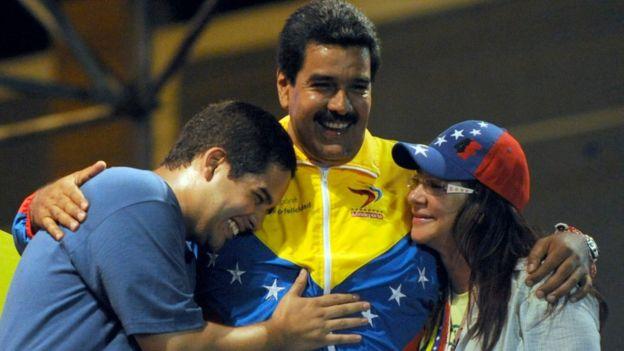 Nicolás Maduro hijo, Nicolás maduro y Cilia Flores.