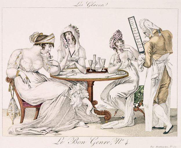 Illustration du XIXe siècle montrant des parisiennes mangeant de la crème glacée dans un glacier.